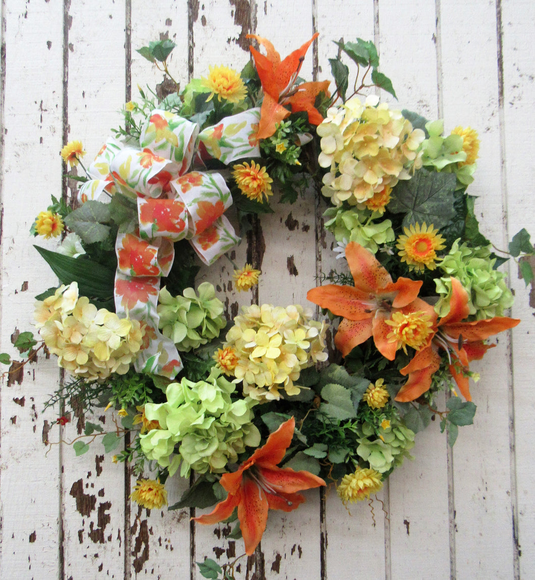 Orange and Yellow Silk Floral Summer Wreath/Ver66 - April's Garden