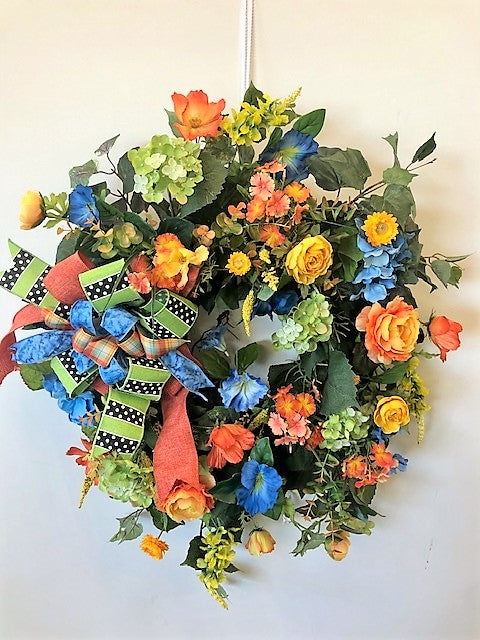 Orange and Blue Summer Silk Floral Late Summer Early Fall Wreath/Ver67 - April's Garden