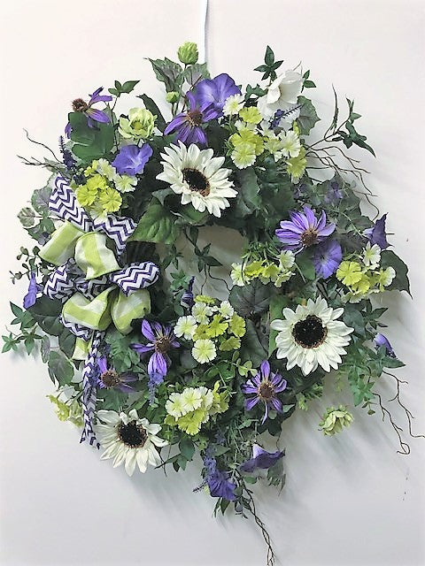 Cream Sunflower and Purple Morning Glory Silk Floral Spring Summer Wreath/ Ver72 - April's Garden Wreath