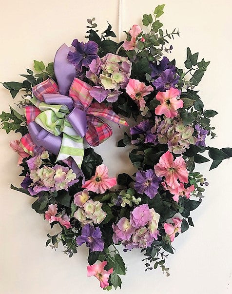 Pink and Purple Petunia Silk Floral Spring Summer Wreath/Ver80 - April's Garden Wreath