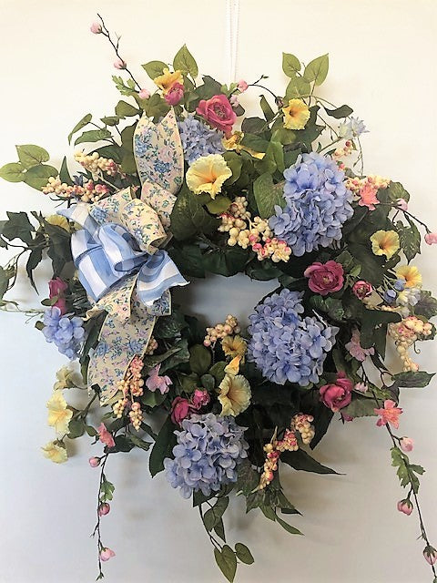 Blue Hydrangea Silk Floral Summer Wreath/Ver86 - April's Garden Wreath