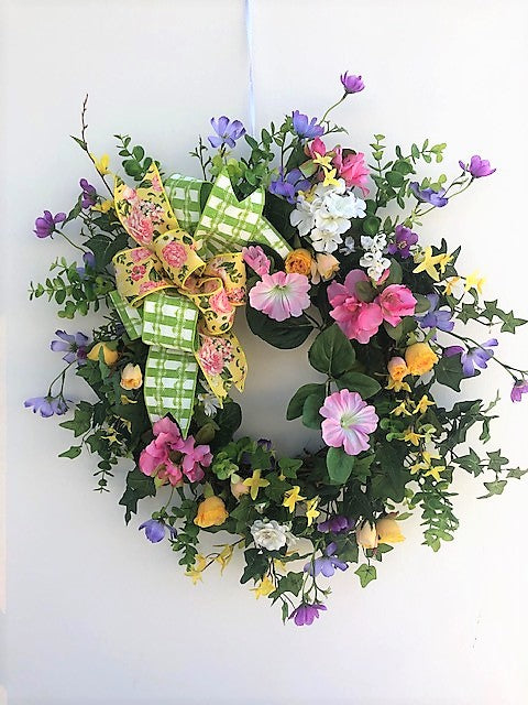Pink, Yellow and Purple Silk Floral Spring Summer Wreath/Ver87 - April's Garden Wreath