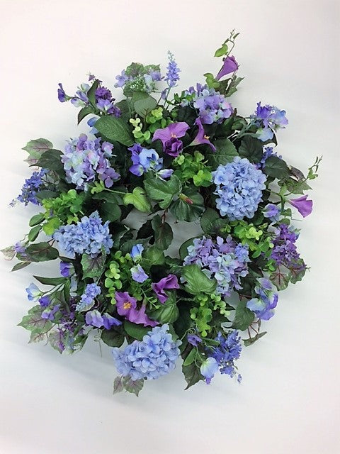 Lavender Hydrangea and Magenta Morning Glory Summer Wreath/Ver88 - April's Garden Wreath