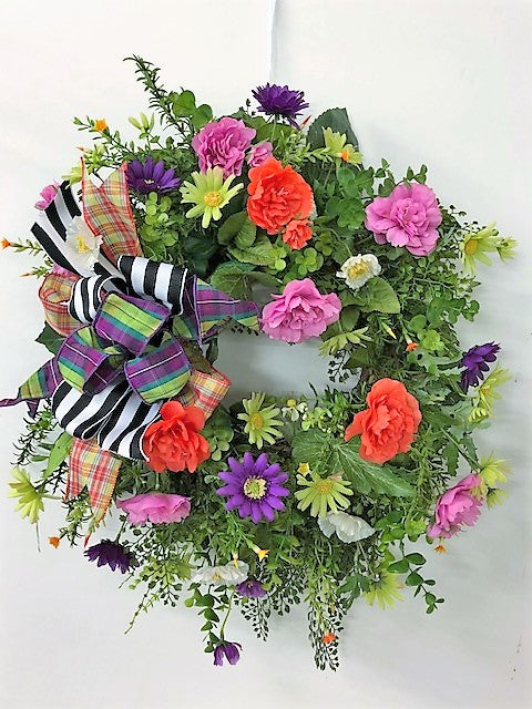 Purple, Lime Green and Hot Pink Silk Floral Spring Wreath/Ver89 - April's Garden Wreath