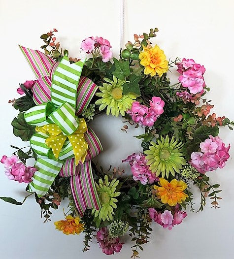 Pink, Green and Orange Silk Floral Spring Wreath with Gerber Daisies/Ver91 - April's Garden Wreath