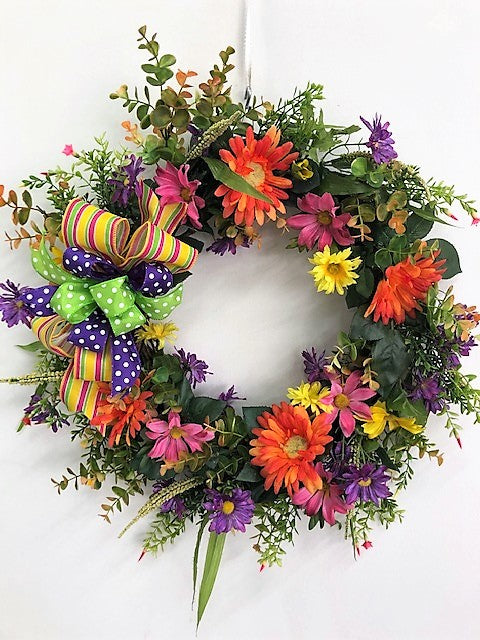 Pink, Yellow and Orange Silk Floral Summer Daisy Wreath/Ver92