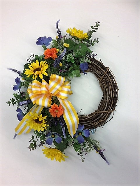 Yellow, Blue, and Orange Silk Floral Crescent Summer Sunflower Front Door Wreath/Ver93