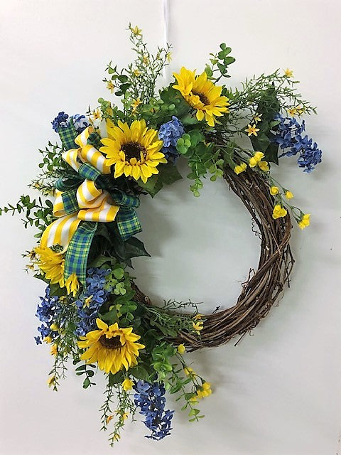 Blue and Yellow Silk Floral Late Summer Early Fall Sunflower Crescent Wreath/Ver94 - April's Garden Wreath
