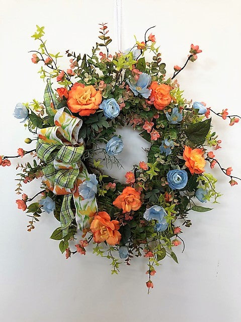 Orange, Blue and Green Silk Floral Late Summer Front Door Crescent Wreath/Ver95