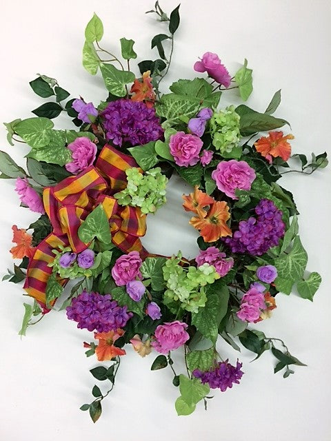 Magenta, Lime, and Hot Pink Silk Floral Late Summer Early Fall Wreath/Ver97 - April's Garden Wreath
