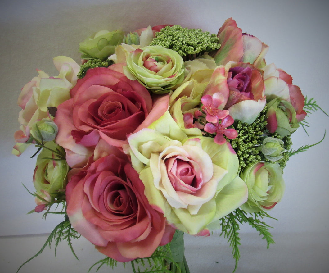 Pink, Green and Cream Silk Floral Bridal Bouquet /BB01 - April's Garden Wreath