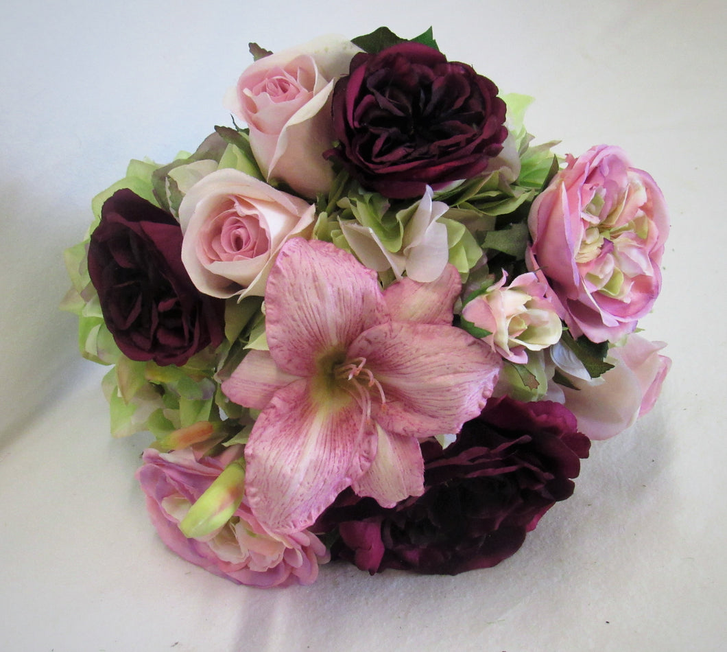 Burgundy, Pink and Mauve Silk Floral Bridal Bouquet/BB02 - April's Garden Wreath