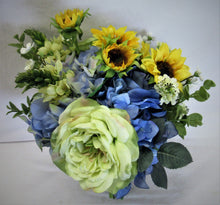 Blue, Cream and Gold Sunflower Silk Floral Bridal Bouquet/BB05 - April's Garden Wreath