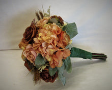 Cream, Rust, and Apricot Silk Floral Bridal Bouquet/BB07 - April's Garden Wreath