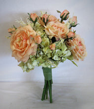 Apricot and Light Green Silk Floral Bridal Bouquet/BB09 - April's Garden Wreath