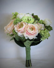Light Pink, Green and Cream Silk Floral Bridal Bouquet/BB10 - April's Garden Wreath
