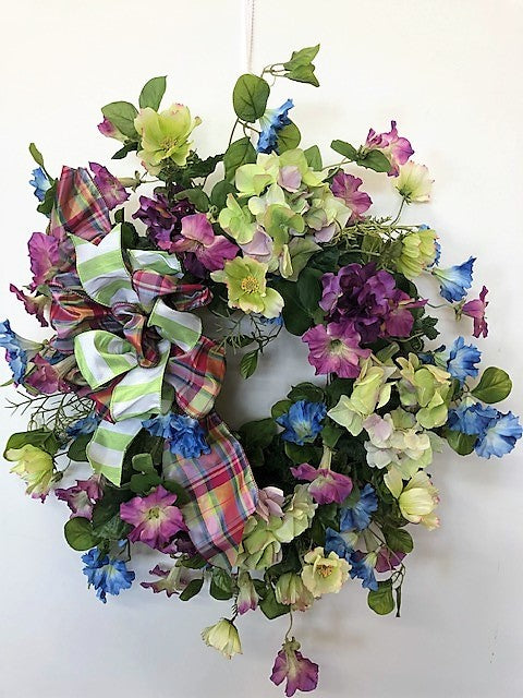Blue, Magenta and Light Green Silk Floral Spring Summer Wreath/ENG52 - April's Garden