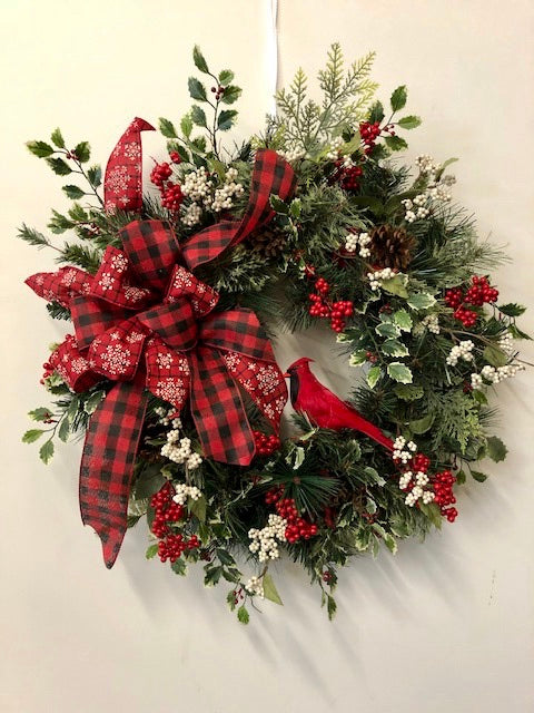 Red and White Silk Floral Winter Front Door Wreath with Red Buffalo Plaid and Cardinal/Trans102 - April's Garden Wreath