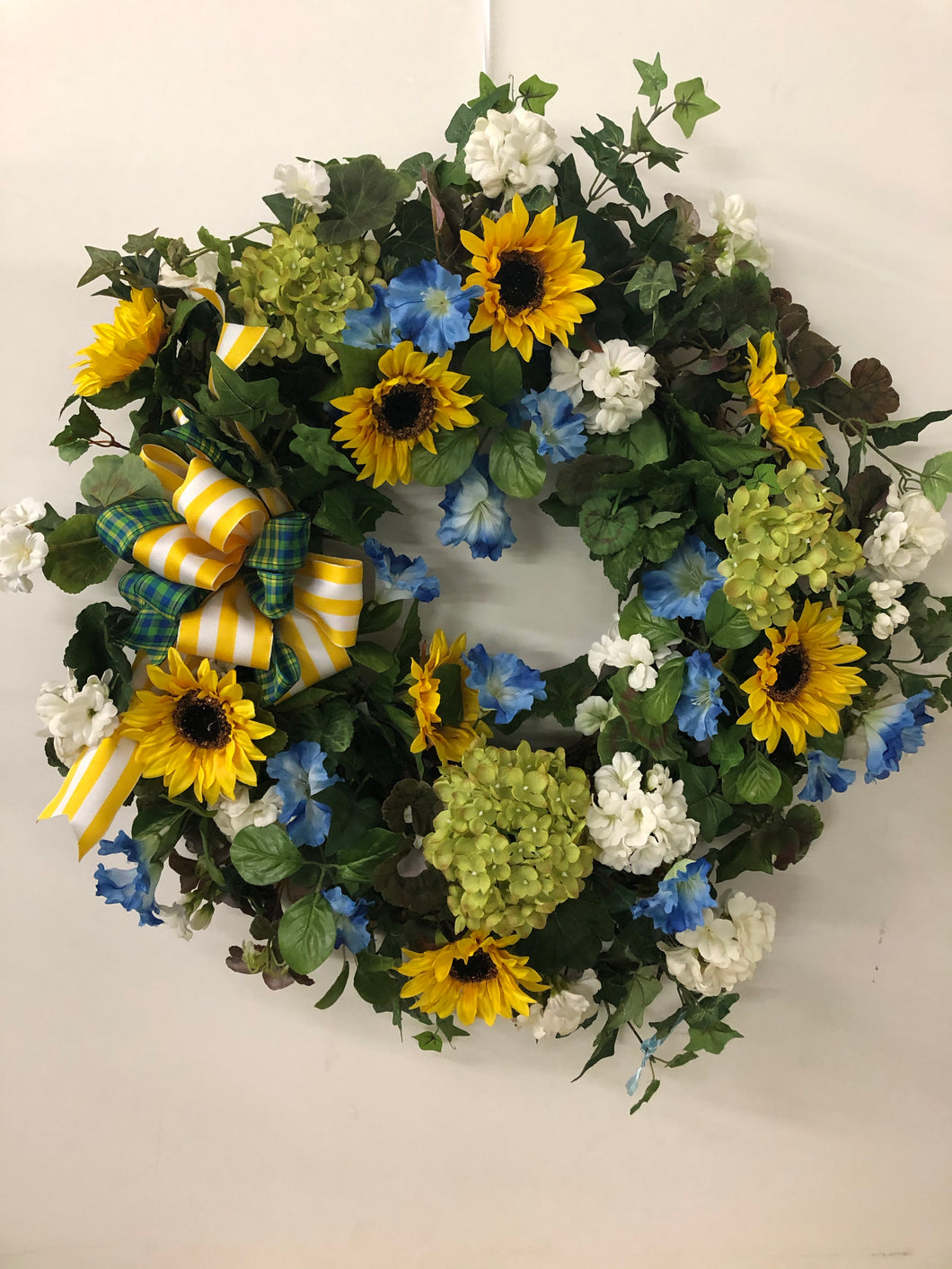 Green, Blue and Yellow Silk Floral Sunflower Summer Wreath/Ver35 - April's Garden Wreath
