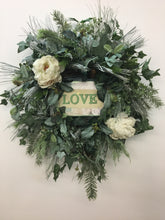 Cream and Frost Silk Winter Wreath with Love Plaque /Trans43 - April's Garden