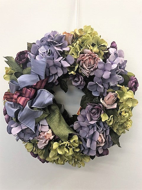 Lavender and Olive Hydrangea Silk Floral Everyday Wreath/Rom16 - April's Garden Wreath