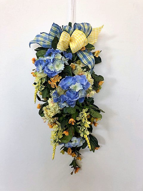 Blue and Yellow Silk Floral Summer Swag with Hydrangeas/Ver137 - April's Garden Wreath