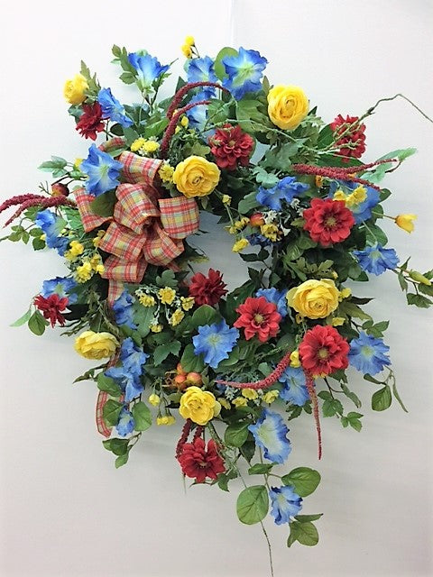 Red, Yellow and Blue Silk Floral Summer Wreath/Ver63 - April's Garden Wreath