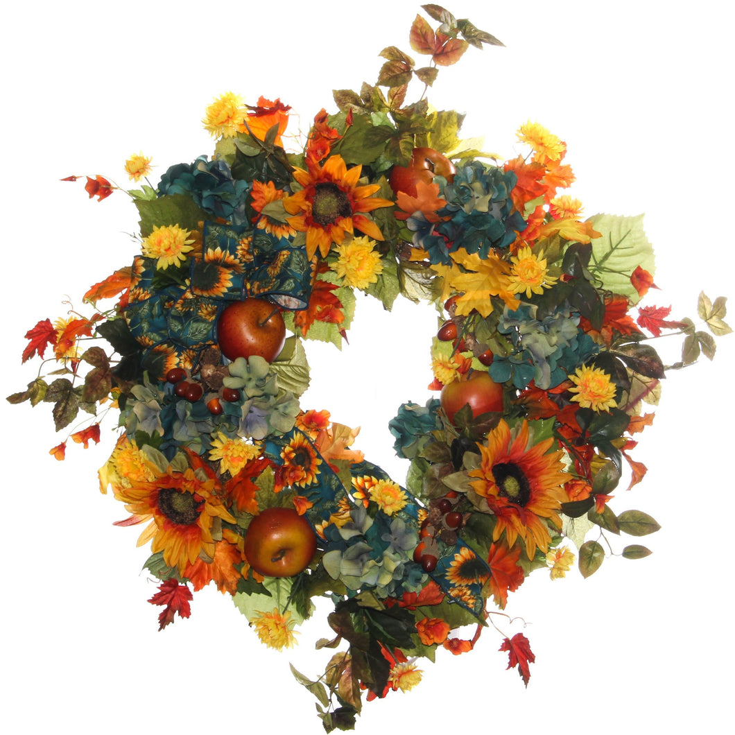 Yellow, Orange and Teal Fall Wreath/HARV13 - April's Garden Wreath
