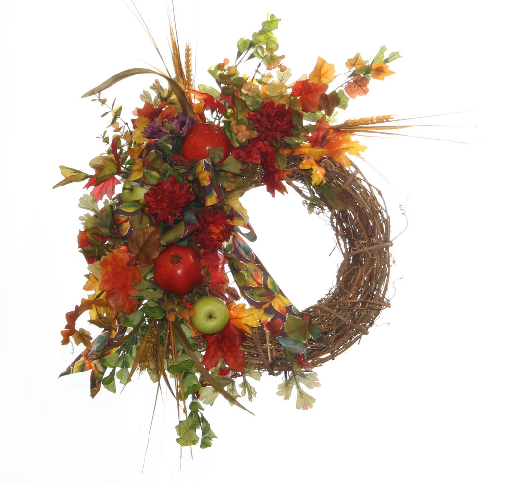 Crescent Style Fall Harvest Wreath/HARV24 - April's Garden Wreath