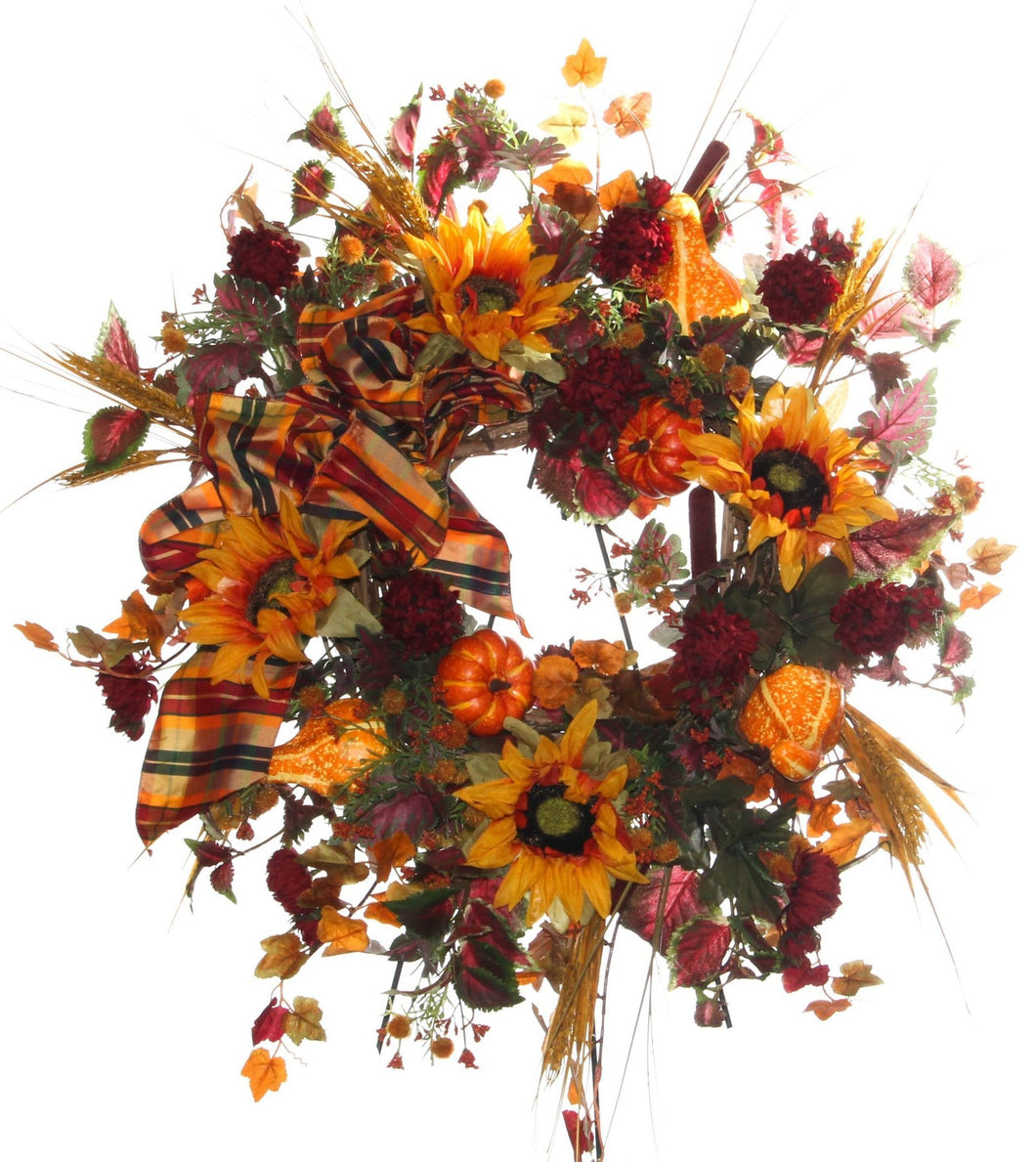 Yellow, Orange and Burgundy Fall Wreath/HARV04 - April's Garden Wreath