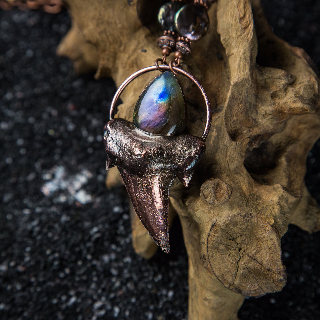 Shark Tooth Pendant Topped with Purple Flash Labradorite