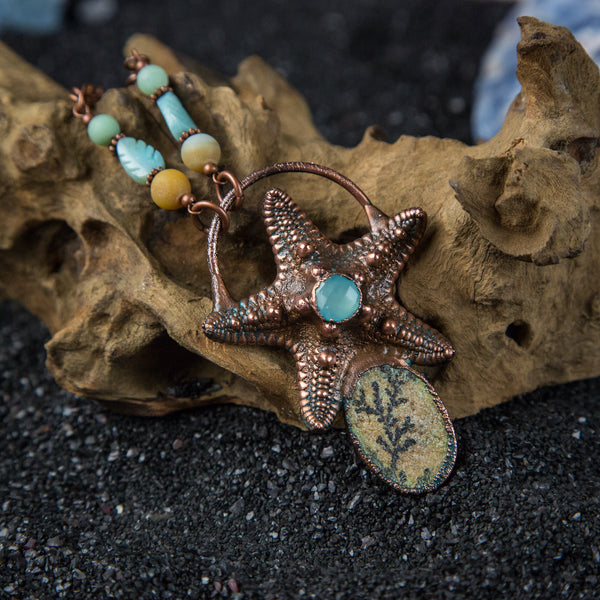 Real Starfish with Faceted Chalcedony and Dendritic Limestone Cabochon