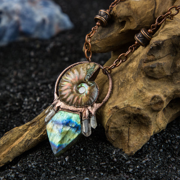 Ammonite Pendant with Faceted Labradorite and Quartz Crystals