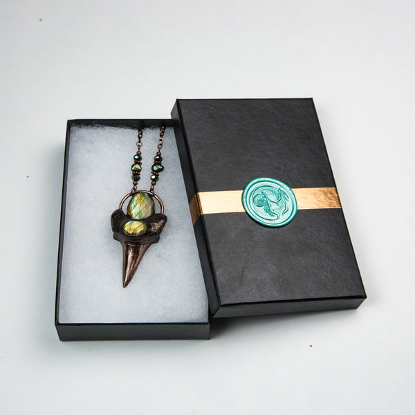 Shark Tooth Pendant with Two Labradorite Cabochons