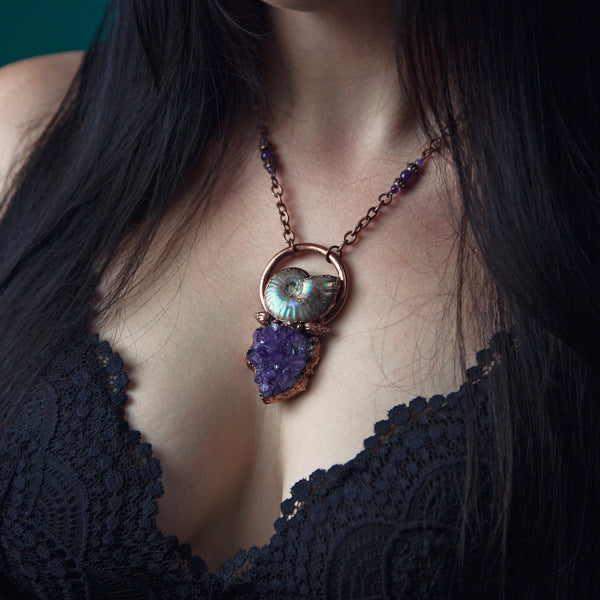 Ammonite Pendant with Amethyst Stone