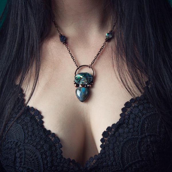 Abalone Cabochon with Labradorite