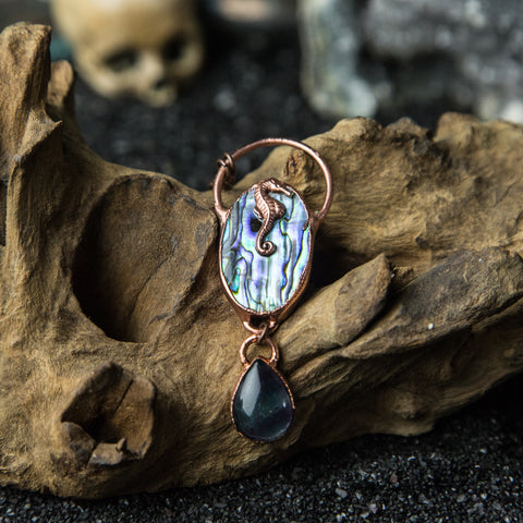 Abalone Cabochon with Fluorite and Copper Seahorse