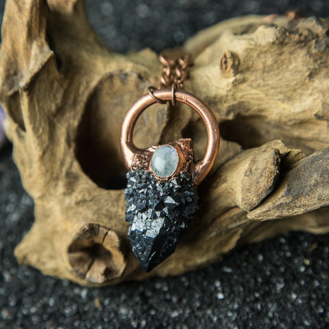 Black Spirit Quartz Pendant with Moonstone