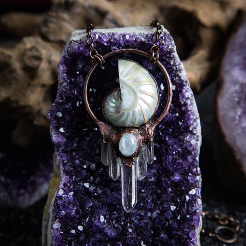 Nautilus Pendant with Moonstone and Quartz Crystals
