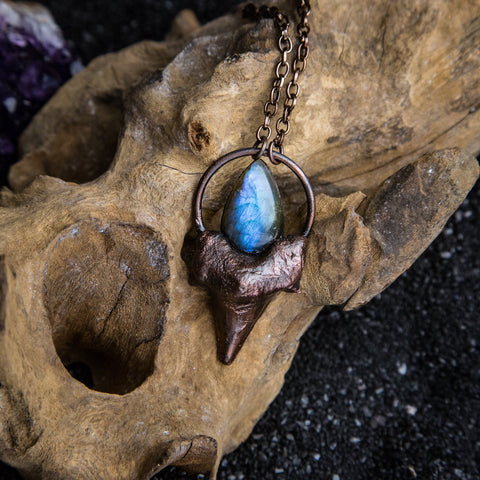 Shark Tooth Pendant Topped with Blue Labradorite