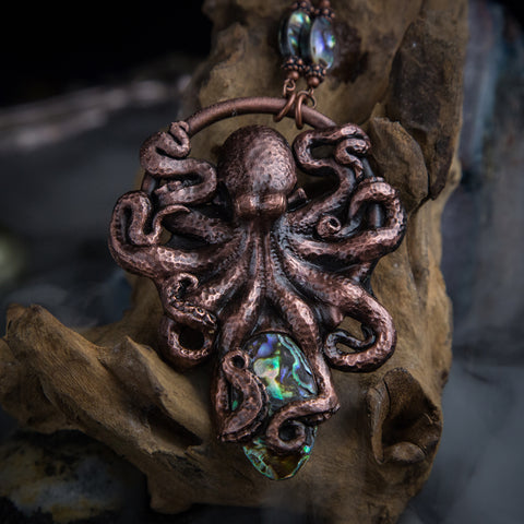 Octopus Pendant Holding an Abalone