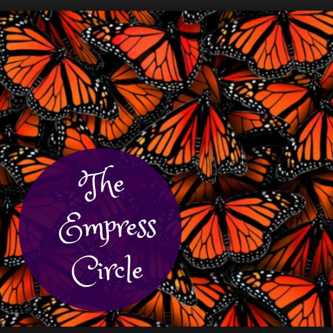 A cluster of monarch butterflies with a purple circle and the words 'The Empress Circle'