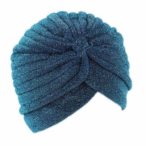 Fashion Bling Gold Knot Twist Turban Headbands Cap Women Autumn Winter Warm Headwear Casual Streetwear Female Indian Hats - Blue Green -