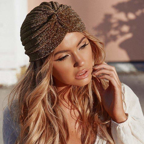 Fashion Bling Gold Knot Twist Turban Headbands Cap Women Autumn Winter Warm Headwear Casual Streetwear Female Indian Hats - Caps &