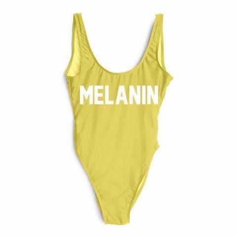 MELANIN Letter High Waist Bathing Suit - YELLOW / L - Suits