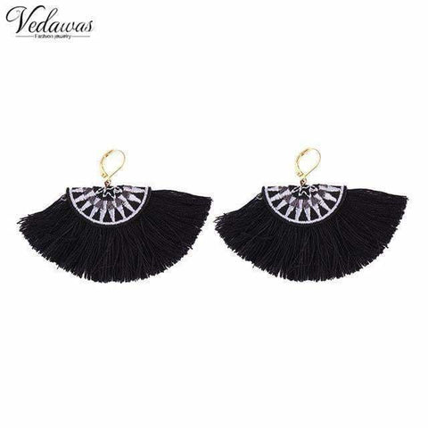 Vedawas Bohemian Embroidery Fringe Earrings For Women Handmade Cotton Tassel Dangle Drop Ethnic Statement Jewelry xg319 - black