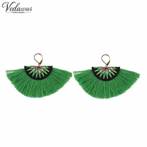 Vedawas Bohemian Embroidery Fringe Earrings For Women Handmade Cotton Tassel Dangle Drop Ethnic Statement Jewelry xg319