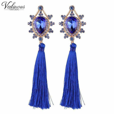 Vedawas New Long Tassel Earrings Red Blue Hanging Summer Trendy Ethnic Jewelry Stud for Women xg255