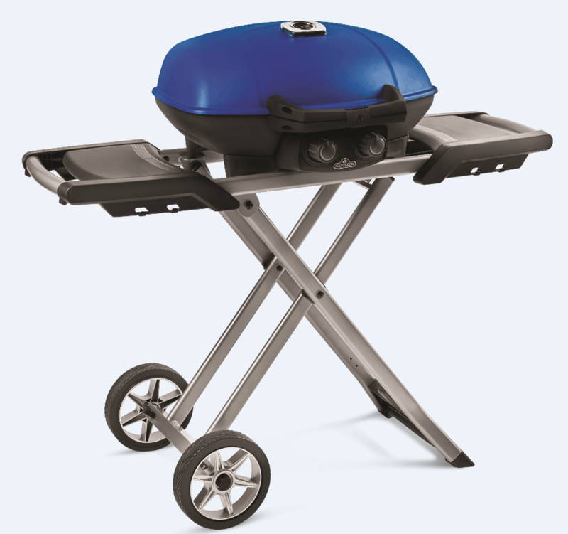 3.Napoleon Travel Q Scissor Legs Portable Wheele BBQ angled view