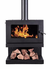 Blaze 900 Wood Fire with Cantilever Base, Heater, Pecan Engineering